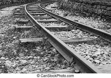 Abandoned track in black and white