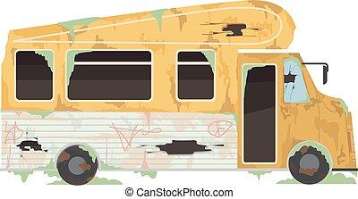Abandoned Trailer Illustration - Illustration of an ...