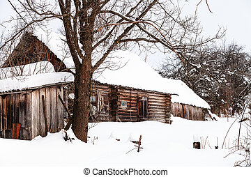 abandoned typical russian rural house in winter