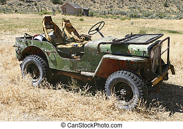 TO REVIEWER: I have now tidied up the license plate and removed jeep from the keywords. I really hope that I have no more problems with this image! An abandoned general purpose (GP) vehicle that has been left to rust away on a desolated Oregon ranch.