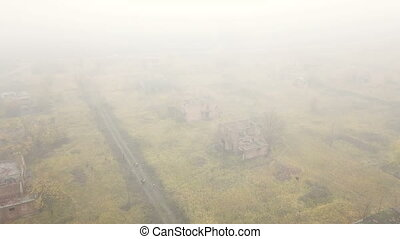Abandoned village. Aerial survey - Flight over an abandoned...