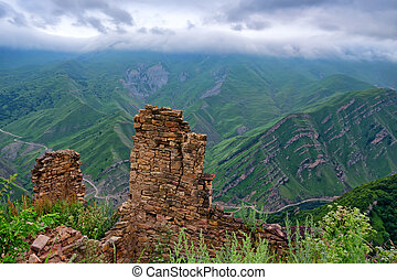 Abandoned village Gamsutl in Dagestan. Scenic landscape with...