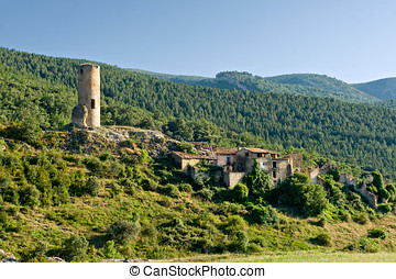 Abandoned village in the Pyrenees mountain, Catalonia, Spain
