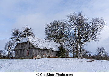 Abandoned village with wooden houses