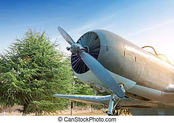 Abandoned vintage aircraft - Abandoned old fighter airplane...