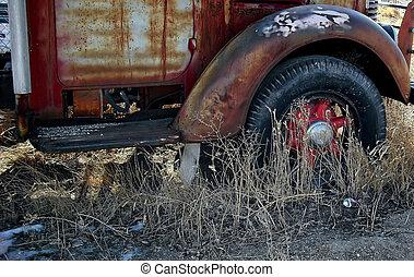 Abandoned vintage car.