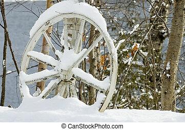 abandoned wagon wheel close up