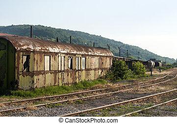 Abandoned weathered grunge wagon