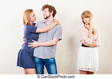Abandoned woman with enamored couple - Jealousy and betrayal...