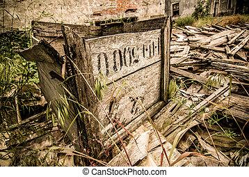 abandoned wooden box