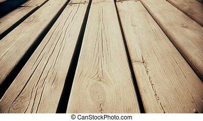 Abandoned wooden bridge. Dolly. Close up - Abandoned Wooden...