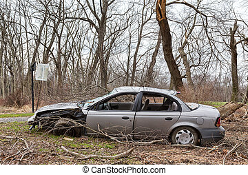 Abandoned, Wrecked Car - An abandoned car that was wrecked...