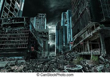 abandonné, représentation, cinematic, détruit, ville
