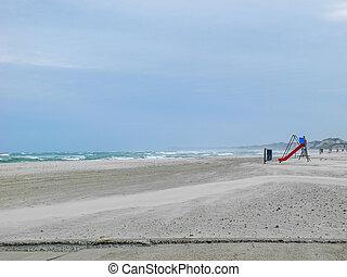 abandonné, venteux, plage, rugueux, mer