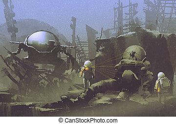 abandonnés, astronaute, deux, mort, planète, astronautes,...