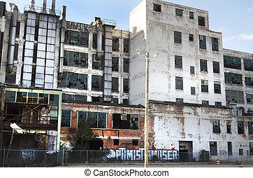 abandonnés, détroit, usine
