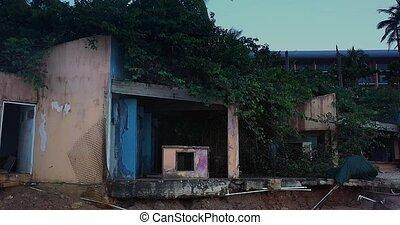abandonnés, dévasté, travers, abîmer, ouragan, moule, maison...