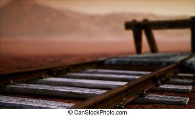abandonnés, ferroviaire, désert, pistes