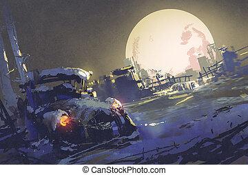 abandonnés, fullmoon, voiture, neige, fond, grand, coverd