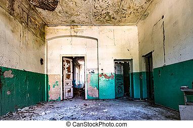 abandonnés, hôpital, salle