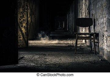 abandonnés, intérieur, à, chaise