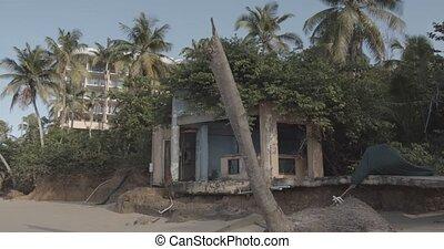 abandonnés, maison, abîmer, travers, ouragan, plage, dévasté...