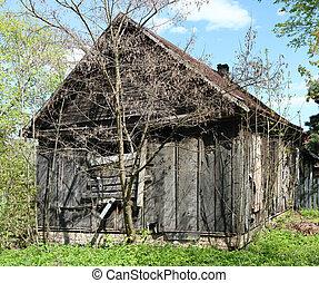 abandonnés, maison bois, village, cassé, fenetres, oublié, boarded-up