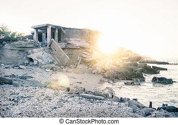 abandonnés, mexique, maison, coucher soleil, pendant, chelem, plage
