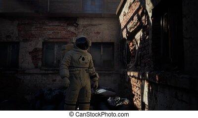 abandonnés, usine, bâtiments, astronaute, perdu, industriel, vieux