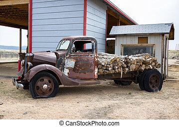 Abandono, rota, caminhão,  66