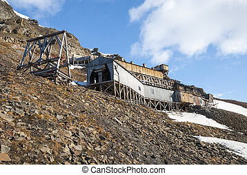 Abanodoned coal mine station in Longyearbyen, Svalbard
