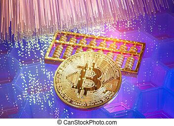 abaque, optique, argent, numérique, virtuel, ou, technologie, monnaie, bitcoin, fibre, chaîne, composition