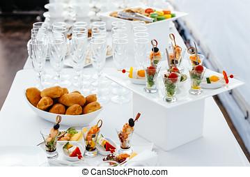 abastecimiento, alimento, boda, blanco, hermoso, table-3.