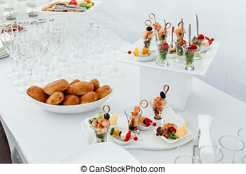 abastecimiento, alimento, boda, blanco, hermoso, table-4.