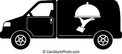 abastecimiento, furgoneta, clip-art