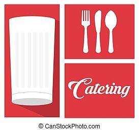 abastecimiento, servicio de alimento, leche, taza, cuchara, tenedor, cuchillo