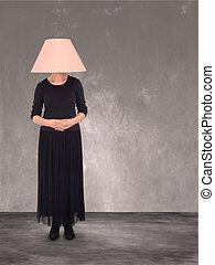 abat-jour, invisible, head., furniture., femme, partie
