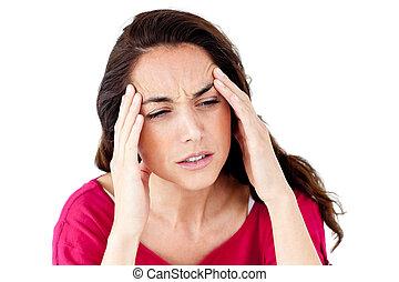 abatido, mulher hispânica, tendo, um, dor de cabeça
