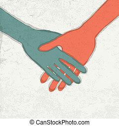 Abatract handshake illustration. Vector, EPS10