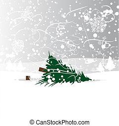 abattu, vecteur, forêt arbre, illustration