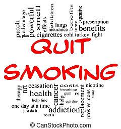 abbahagy, dohányzó, szó, felhő, fogalom, alatt, piros, &,...