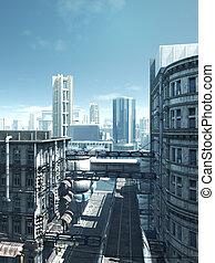 abbandonato, città, futuro, -, strade