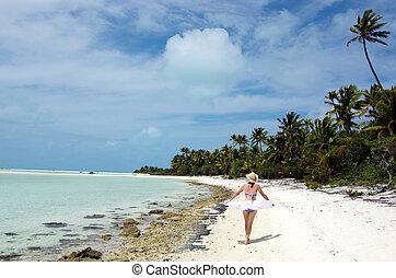 abbandonato, donna rilassa, isola, giovane, tropicale