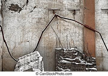 abbandonato, fondo, struttura