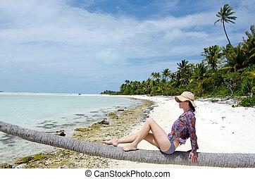 abbandonato, giovane, sexy, isola, donna tropicale, rilassante