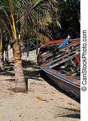abbandonato, legno, peschereccio, su, uno, tropicale, island.