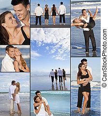abbandonato, quattro persone, fotomontaggio, due coppie, spiaggia
