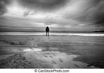 abbandonato, spiaggia, in, inverno