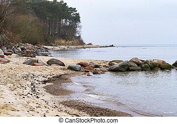 abbandonato, spiaggia, roccioso, mare