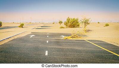 abbandonato, strada, deserto
